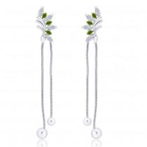 925 sterling silver Half Leaf design Drop Earrings for Women JOCCBER266I-05