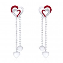 925 sterling silver Double heart Drop Earrings for Women JOCCBER266I-07