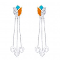 925 sterling silver Lotus design Drop Earrings for Women JOCCBER266I-08