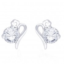 925 Sterling Silver CZ Abstract Design Stud Earrings for Women JOCCBER267I-02