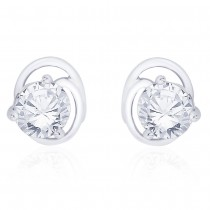 925 sterling silver round cut cz stud earrings for girls JOCCBER267I-14
