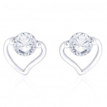 925 Sterling Silver CZ Heart Stud Earrings for Women JOCCBER267I-17