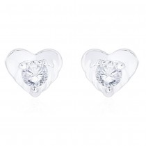 925 Sterling Silver CZ Heart Stud Earrings for Women JOCCBER267I-18