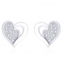 925 Sterling Silver CZ Heart shape earrings for Women JOCCBER271I-03