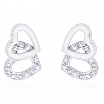 925 Sterling Silver CZ Double Heart earrings for her JOCCBER271I-07