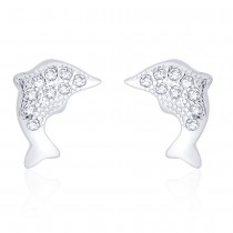 925 Sterling Silver CZ Dolphin earrings for girls & Women JOCCBER271I-09
