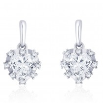 925 Sterling silver CZ Heart Design Drop earrings JOCCBER273I-01