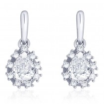 925 Sterling silver CZ Pear Drop Shape Design Drop earrings for Women JOCCBER273I-03