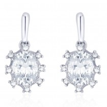 925 Sterling silver CZ Oval Shape Design Drop earrings for Women JOCCBER273I-04