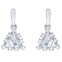 925 Sterling silver CZ Triangle Shape Design Drop earrings for Women JOCCBER273I-06