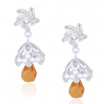 CZ And Champagne Colour Bead Floral Jhumki 925 Sterling Silver Earring JOCCBJH018I-06