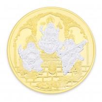 Gold Plated 999 Silver Ganeshji,Lakshmiji & Saraswatiji 20 Gram Coin JOCCOIN-GNLXS20G