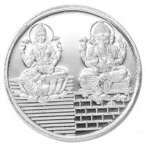 999 Silver Lakshmiji With Ganesha 20 Gram Coin JOCCOIN-LXGNS20G