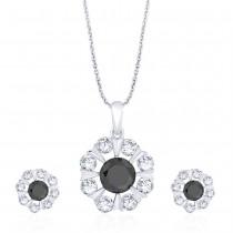 925 Sterling Silver Floral Black CZ Pendant Set for Women JOCD1X112-02-BK