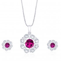 925 Sterling Silver Floral Dark Pink CZ Pendant Set for Women JOCD1X112-02-DPK