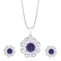 925 Sterling Silver Floral Purple CZ Pendant Set for Women JOCD1X112-02-PUR