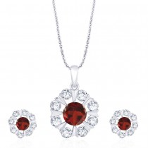 925 Sterling Silver Floral Red CZ Pendant Set for Women JOCD1X112-02-RD