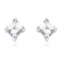 Square White CZ Stud 925 Sterling Silver Earring For Women JOCER0313S4