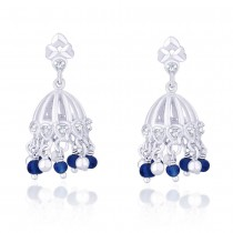 CZ And Blue Beads Jhumki 925 Sterling Silver Earring JOCER2095S