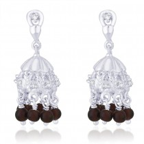 CZ Hanging Brown Bead 925 Silver Jhumki Earring For Women JOCER2096S