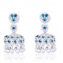 Blue CZ 925 Sterling Silver Jhumki Earring For Women JOCER2098S