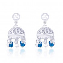 Blue Beads Jhumki 925 Sterling Silver Earring JOCER2100S