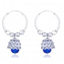 Blue Beads CZ Ch&elier 925 Silver Hoop Jhumki Earring for Women JOCER2205S