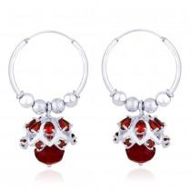 Red Beads CZ Ch&elier 925 Silver Hoop Jhumki Earring for Women JOCER2206S