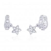 925 Sterling Silver CZ Floral Charm Ear Cuff JOCER2633R