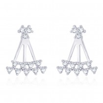 925 Sterling Silver White Cz Front To Back Earring For Women JOCER2639R