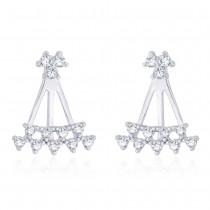 925 Sterling Silver White Cz Front To Back Earring For Women JOCER2639R