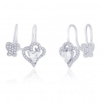 925 Sterling Silver Cz Adorn Heart & Butterfly Ear Cuff For Women JOCER2641R