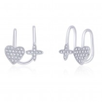 925 Sterling Silver Cz Adorn Heart And Floral Ear Cuff For Women JOCER2645R