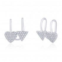 925 Sterling Silver Cz Adorn Triangle & Heart Ear Cuff For Women JOCER2646R
