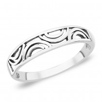 Designer Cutwork Band Style Sterling Silver Ring JOCFR1092A7
