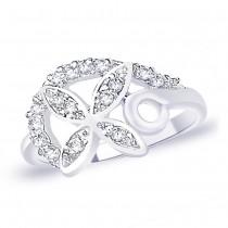 White CZ 925 Sterling Silver Finger Ring For Women JOCFR1313R6