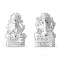 999 Silver Combo Of Lord Ganeshji And Lakshmiji Idol JOCGI1231F+GI1232F