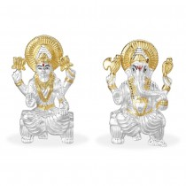 Silver Gold Plated 999 Silver Combo Of Lord Ganeshji And Lakshmiji Idol JOCGI1371G+GI1372G
