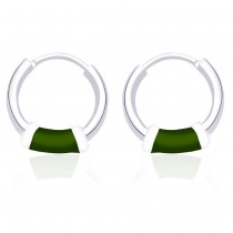 Green Enamel 925 Sterling Silver Hoop Earring For Women JOCH42014ZI