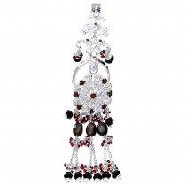Floral Designer Ladies Keyring With White And Maroon CZ 925 Sterling Silver  JOCKC1105A
