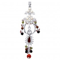 Floral Designer Ladies Keyring With White CZ And Pearl 925 Sterling Silver JOCKC1106A
