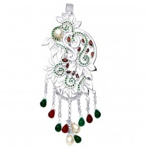 Floral Designer Ladies Keyring With Red And Green CZ 925 Sterling Silver JOCKC1115S