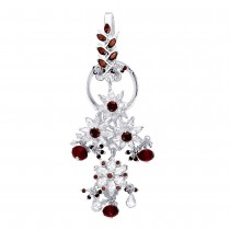 Floral Designer Ladies Keyring With White And Red CZ 925 Sterling Silver JOCKC1136S