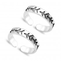 Engraved Pattern 925 Sterling Silver Toe Ring For Women JOCLR0633A