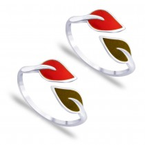 925 Silver Top Openable Floral with Enamel Toe Ring for Women JOCLR0708S