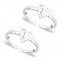 925 Sterling Silver Heart Design CZ Toe Ring for Women JOCLR0859S