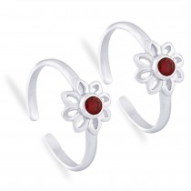 925 Sterling Silver Floral Toe Ring For Women JOCLR0919S