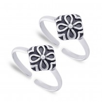 925 Sterling Silver Floral Toe Ring For Women JOCLR1037A