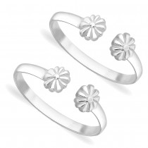 925 Sterling Silver Floral Ending Toe Rings For Women JOCLR1060S