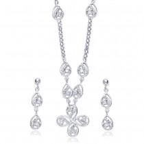 Floral 925 Sterling Silver Necklace Set For Women JOCNS1163S